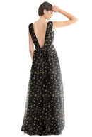 Joanna August Long Bridesmaid Dress Michelle Star Print Black