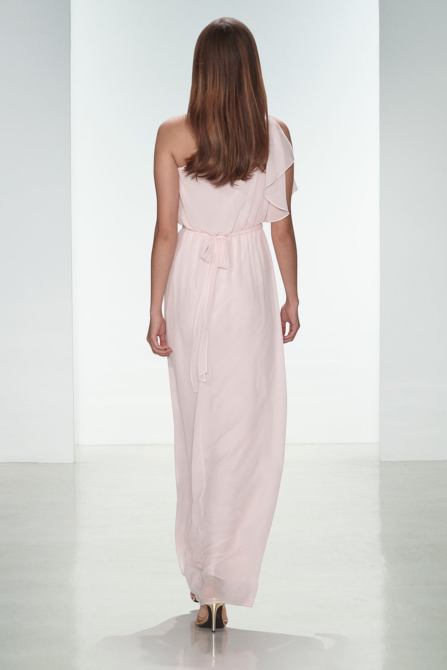 Flutter, one shoulder, Draped bodice, Gathered waist, Flat Chiffon fabric, Natural waist, Floor-length