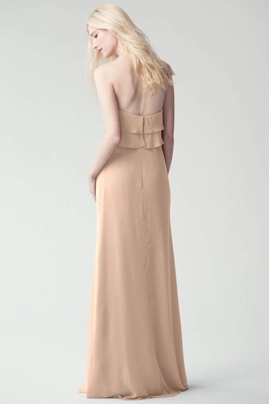 strapless tiered ruffle on the bodice in flowy luxe chiffon