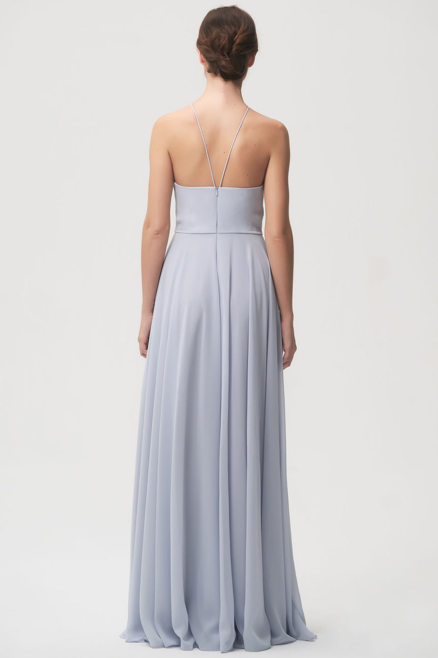 Bella exclusive halter dress in flowy luxe chiffon