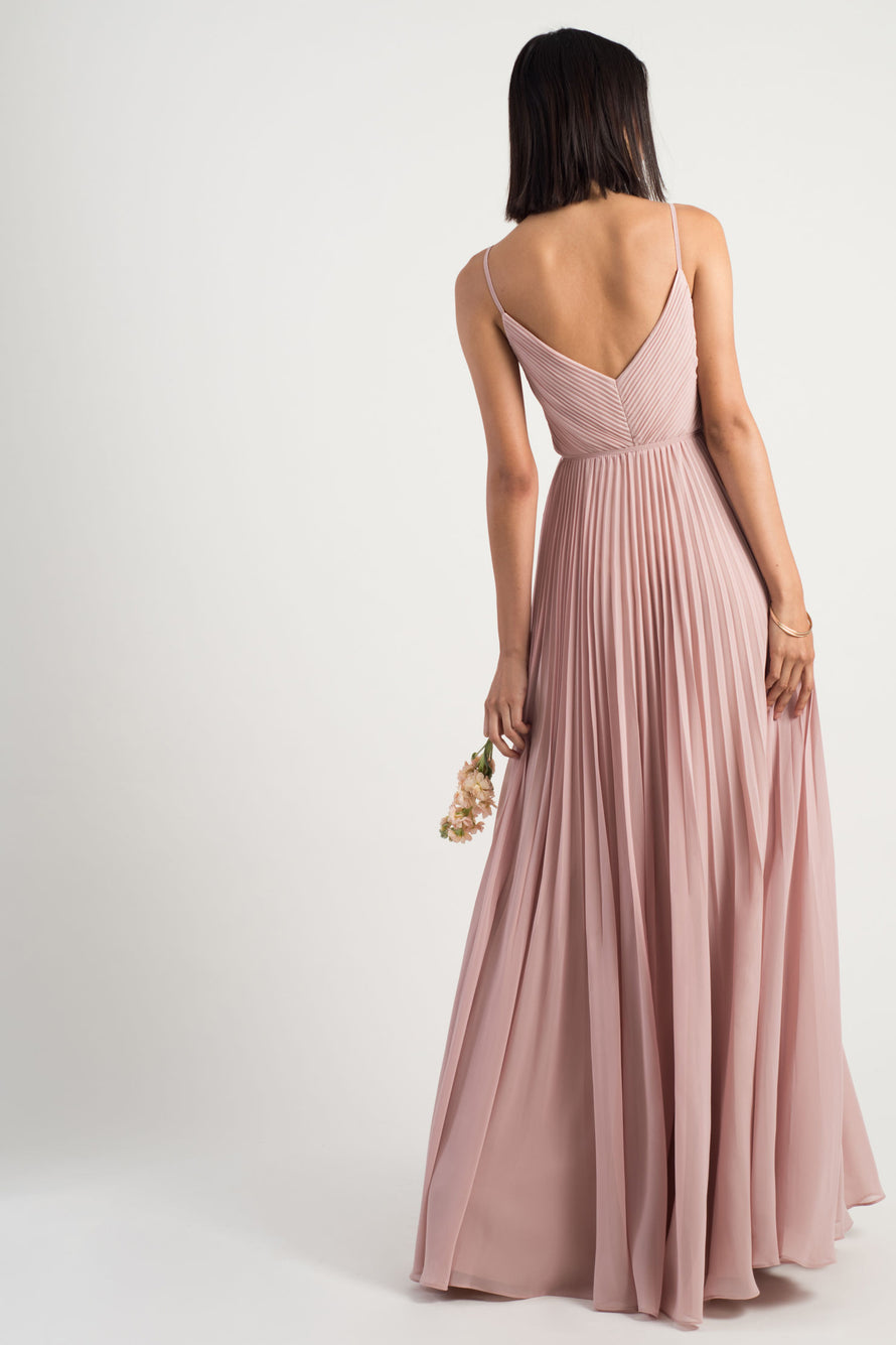 v-neck spaghetti strap with pleated bodice in luxe chiffon