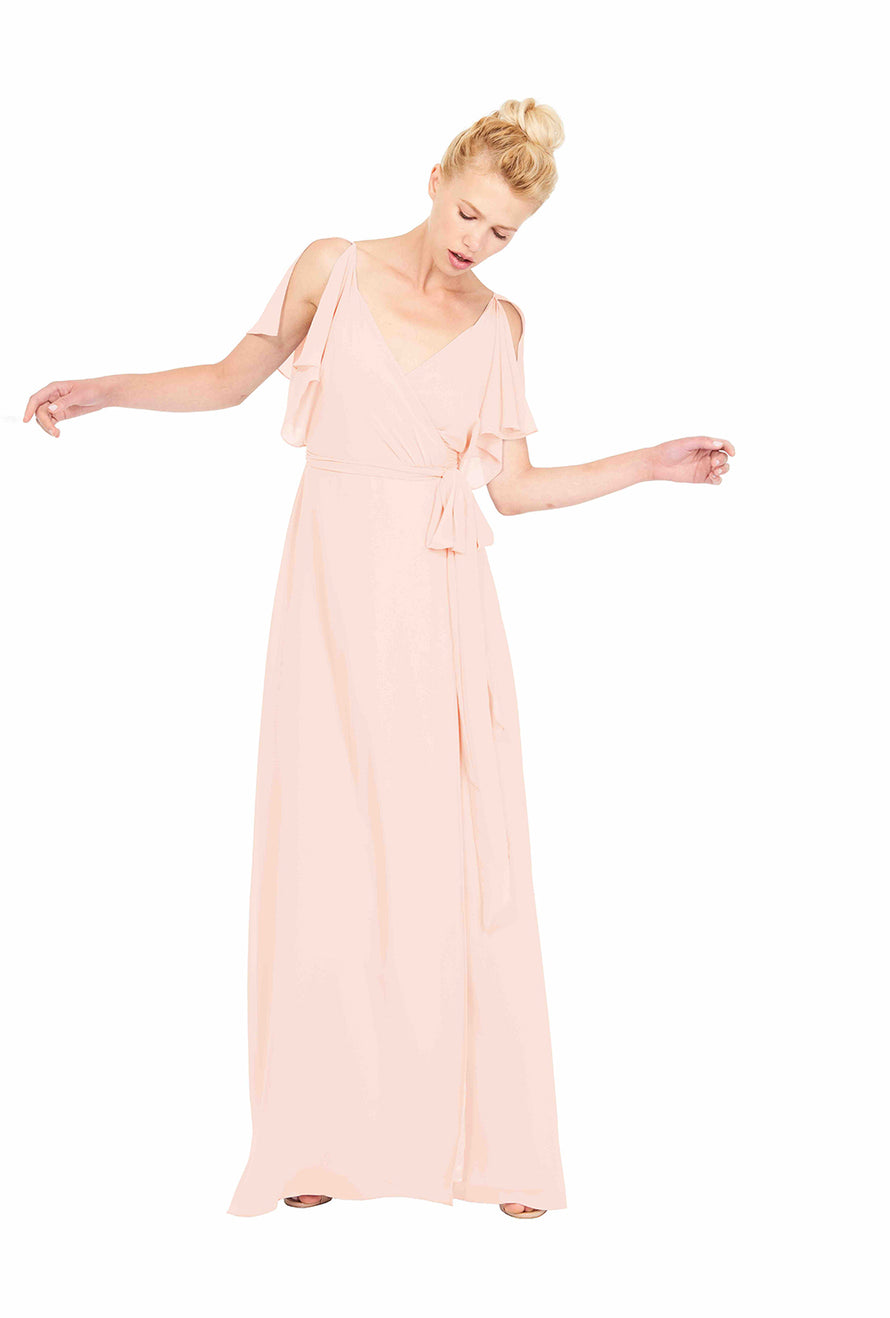 Joanna August Long Bridesmaid Dress Rebecca-cold-shoulder