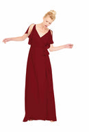 Joanna August Long Bridesmaid Dress Rebecca merlot