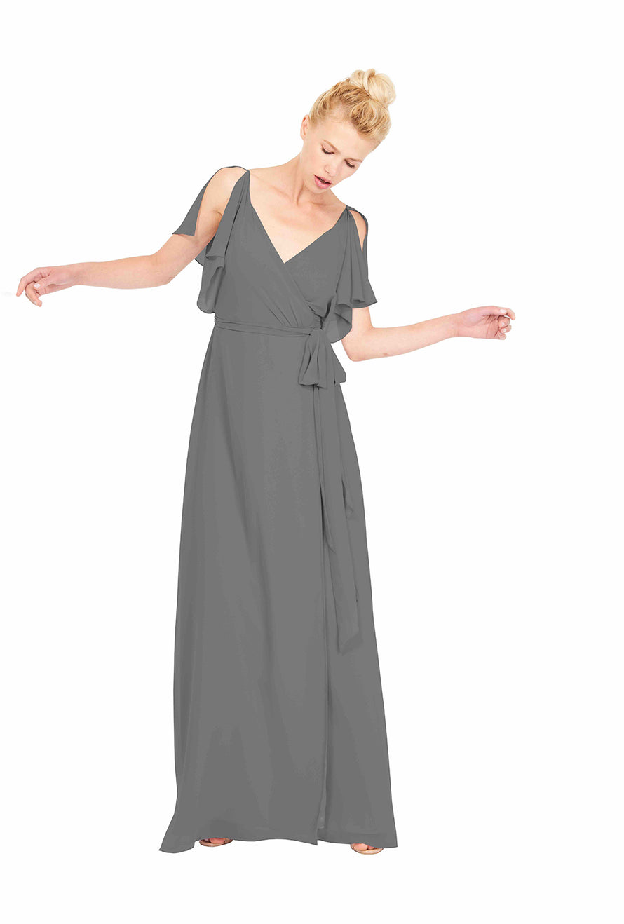 Joanna August Long Bridesmaid Dress Rebecca Grey