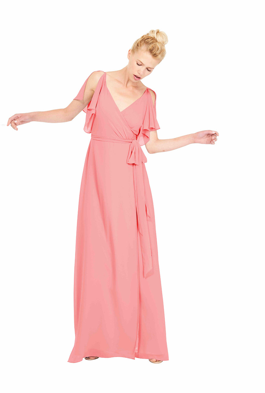 Joanna August Long Bridesmaid Dress Rebecca Pink