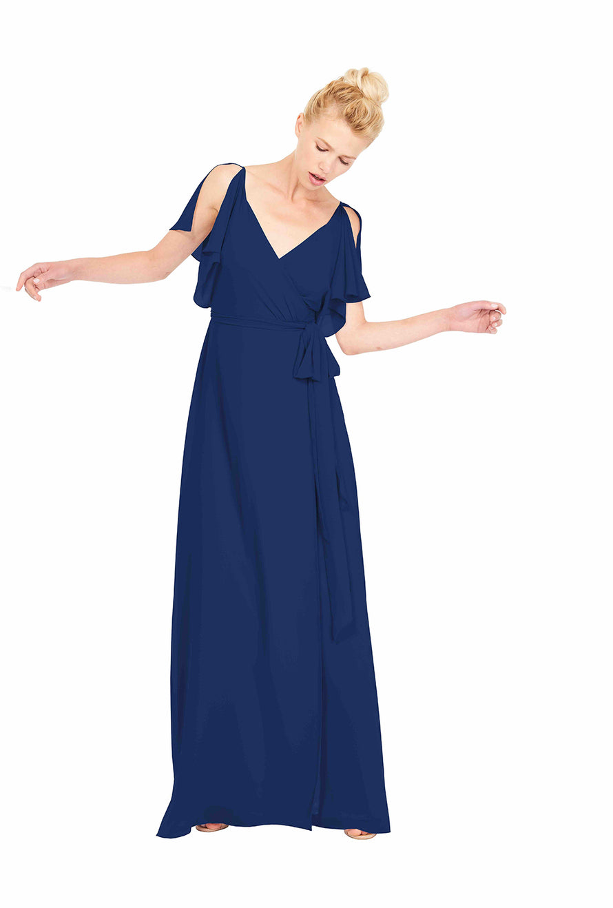 Joanna August Long Bridesmaid Dress Rebecca Navy Blue