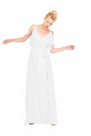 Joanna August Long Bridesmaid Dress Rebecca Chiffon White