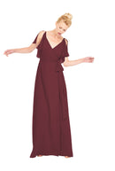 Joanna August Long Bridesmaid Dress Rebecca Burgundy