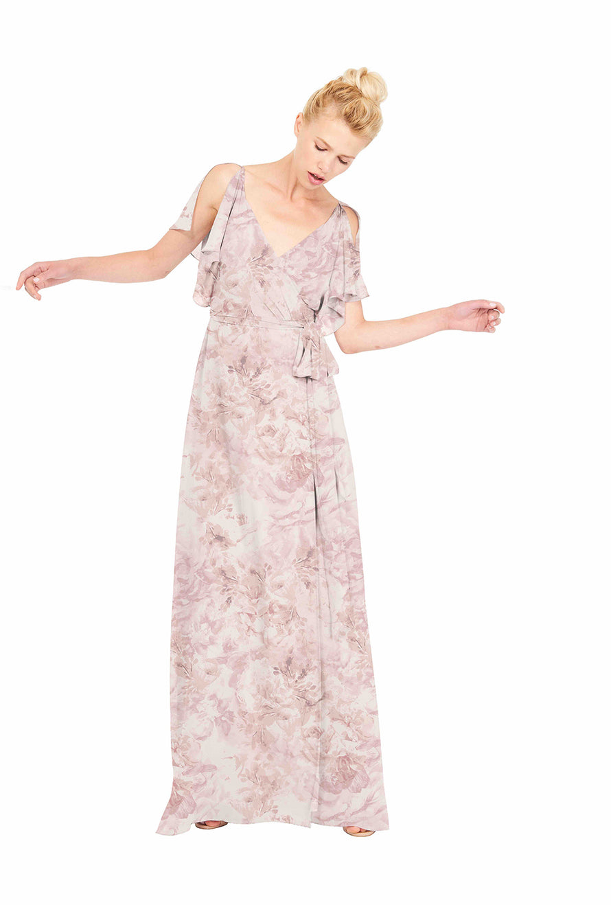 Joanna August Long Bridesmaid Dress Rebecca Print Blush