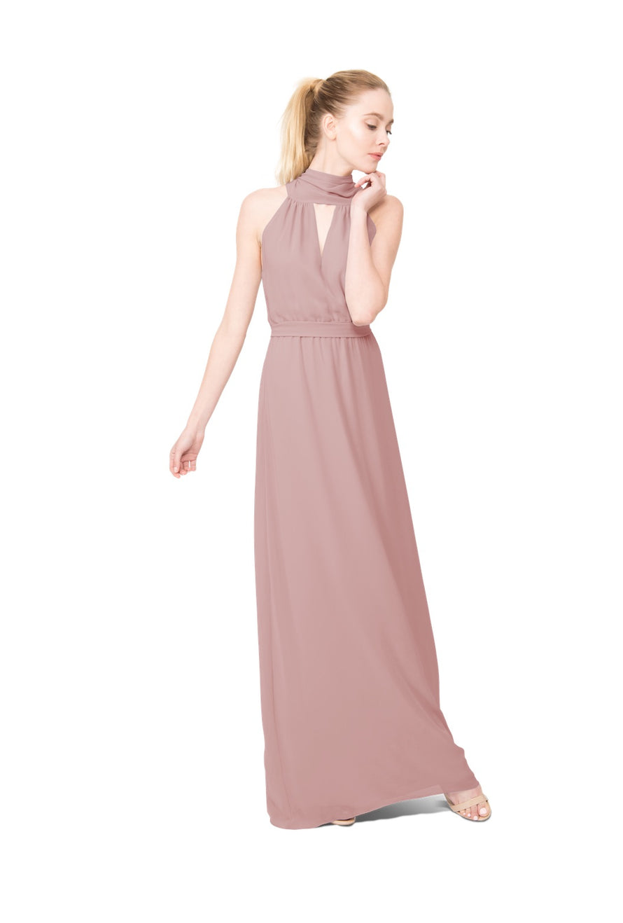 Dusty Rose Long Bridesmaid Dress