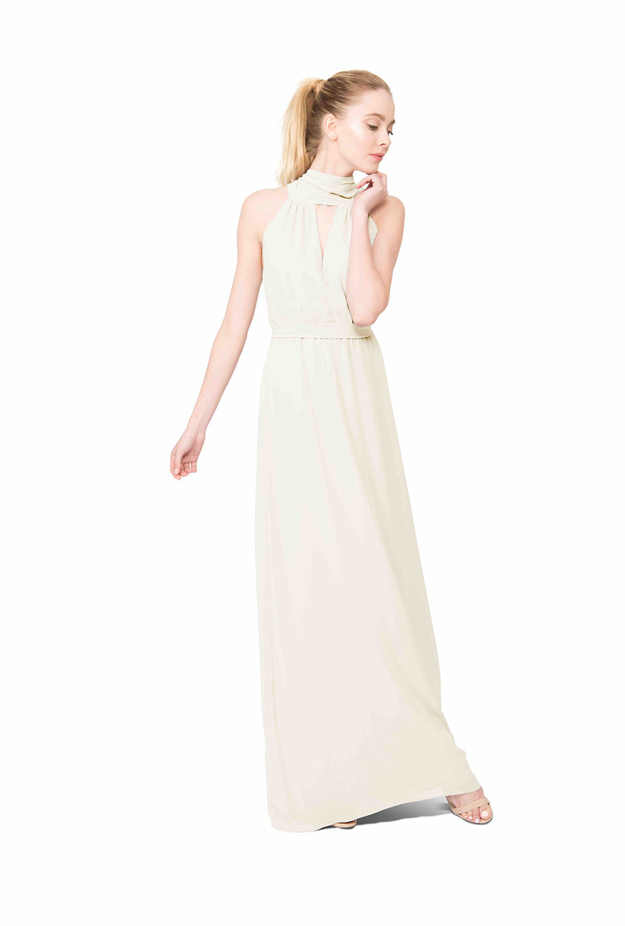 Turtleneck keyhole front Bridal Dress Chiffon