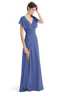 Joanna August Long Bridesmaid Dress Sage Blue
