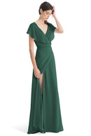 Joanna August Long Bridesmaid Dress Sage Emerald-Green