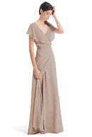 Joanna August Long Bridesmaid Dress Sage Brown