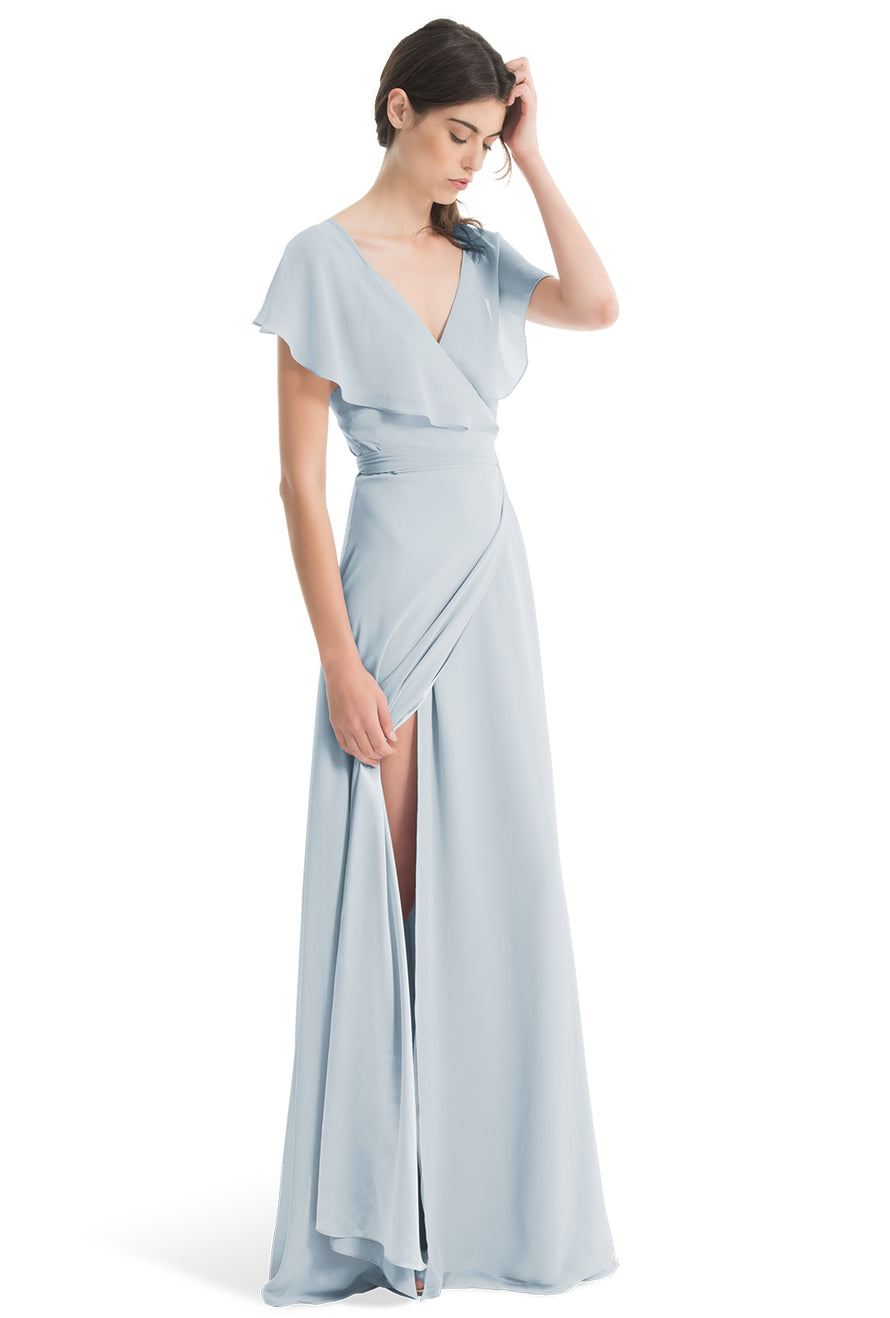 Joanna August Long Bridesmaid Dress Sage Whisper Blue