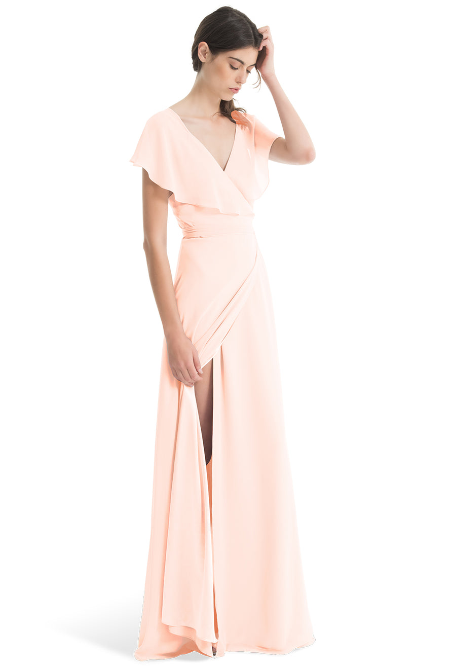 Joanna August Long Bridesmaid Dress Sage Soft Blush
