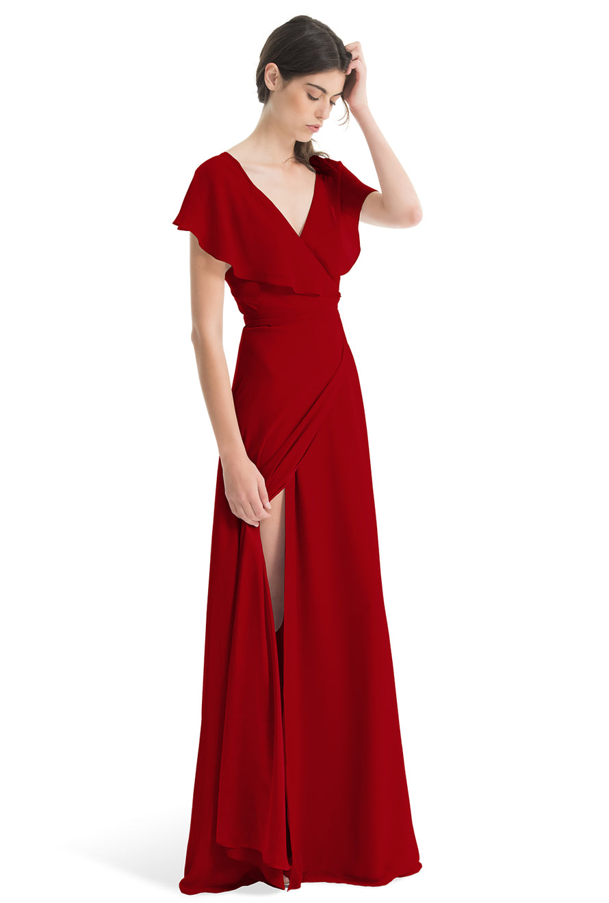 Joanna August Long Bridesmaid Dress Sage Red