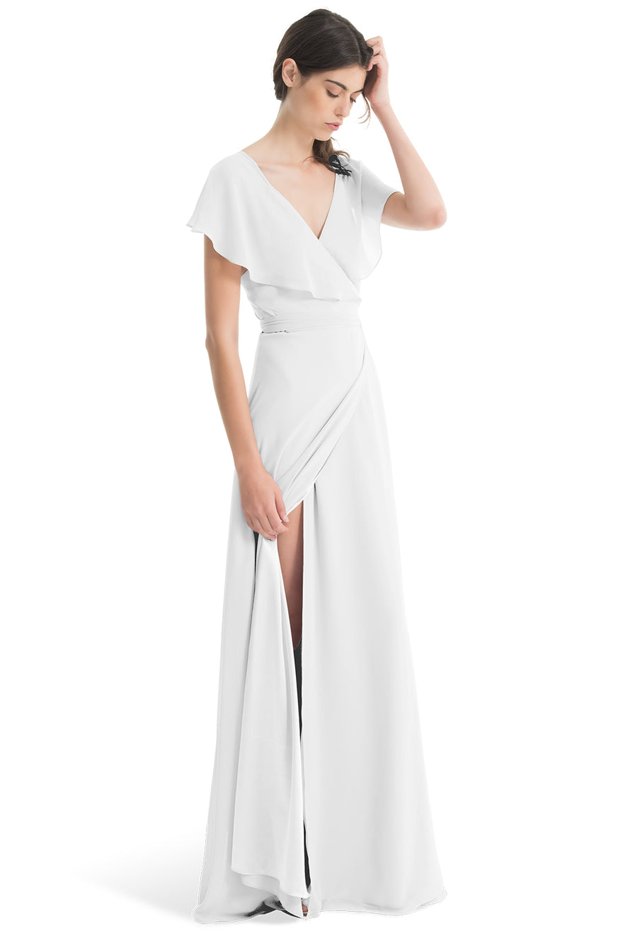 Joanna August Long Bridesmaid Dress Sage White