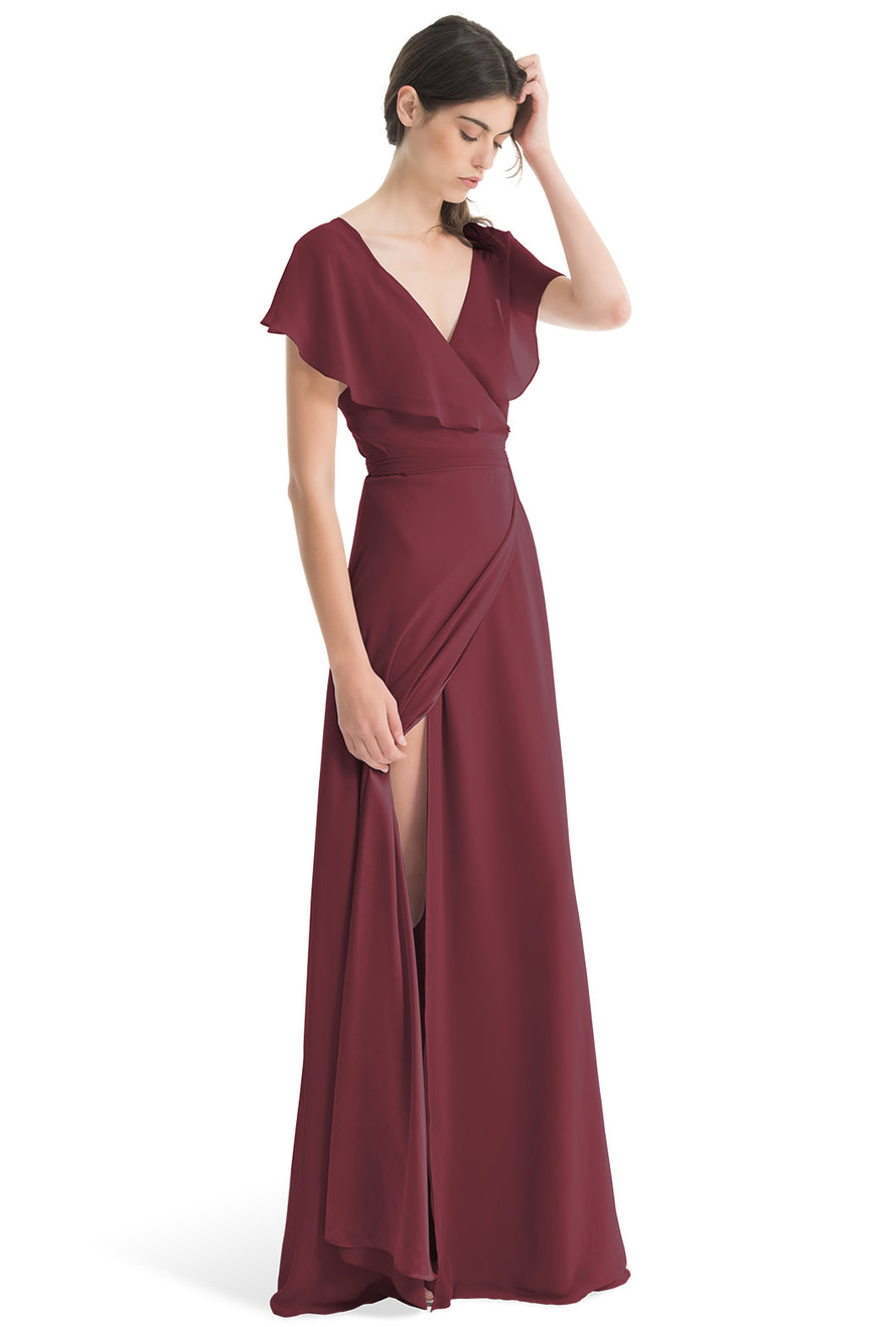 Joanna August Long Bridesmaid Dress Sage Red-Hibiscus
