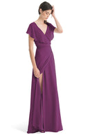 Joanna August Long Bridesmaid Dress Sage Purple