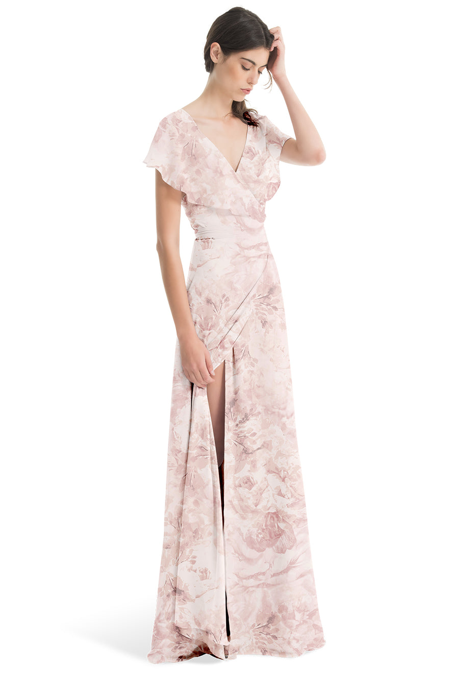 Joanna August Long Bridesmaid Dress Sage Print Chiffon-Blush
