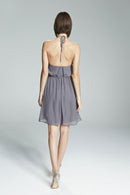 Ruffled halter neckline, Open back with waist tie, Spaghetti strap, Flat Chiffon fabric, Short-length