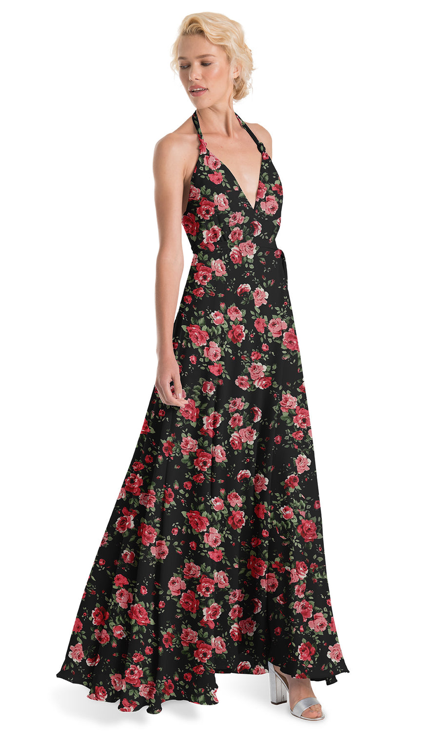 Joanna August Bridesmaid Long Dress Francesca Rose Print-Black