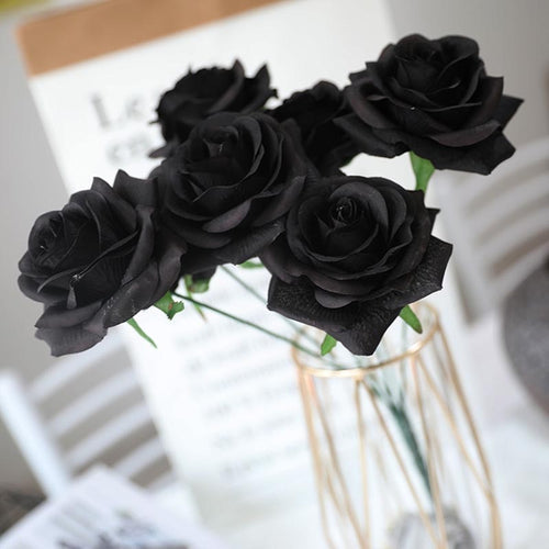 7 heads Black rose artificial flower bouquet