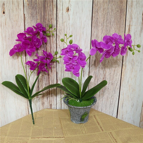 1PC 2 Branch Artificial Silk Orchid Flowers with Leaves