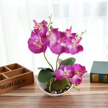 Load image into Gallery viewer, 1Set Trigeminal Phalaenopsis artificial bonsai flower + pot