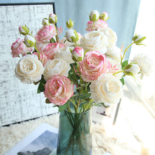Artificial Flowers Rose Peony Bouquet 3 Heads Peonies