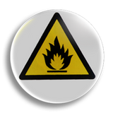 Highly Flammable Warning 25mm Badge