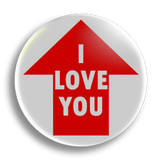 I Love You, up 25mm Badge