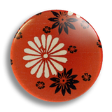 Japanese Floral Red 25mm Badge