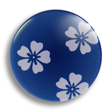 Japanese Floral Blue, 25mm Badge