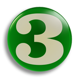Number 3, 25mm Badge