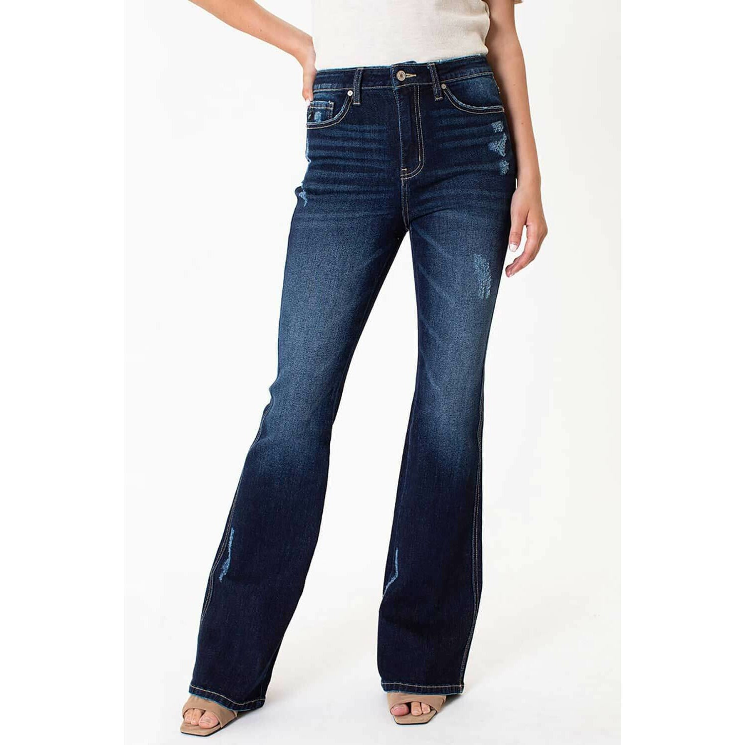 Olivia KanCan High Rise Distressed Flare Jeans