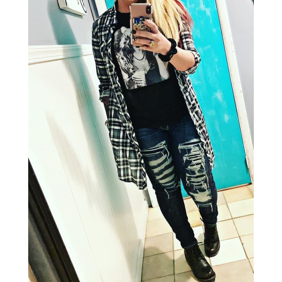 Me Time Black/White Plaid Flannel Cardigan