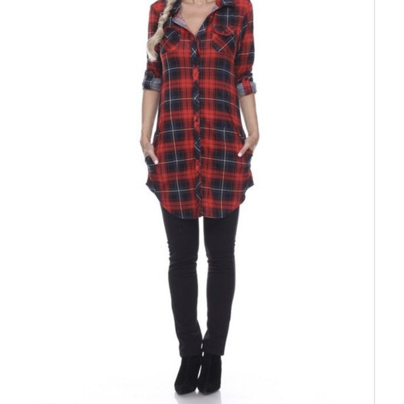 Me Time Red/Black Plaid Flannel Cardigan