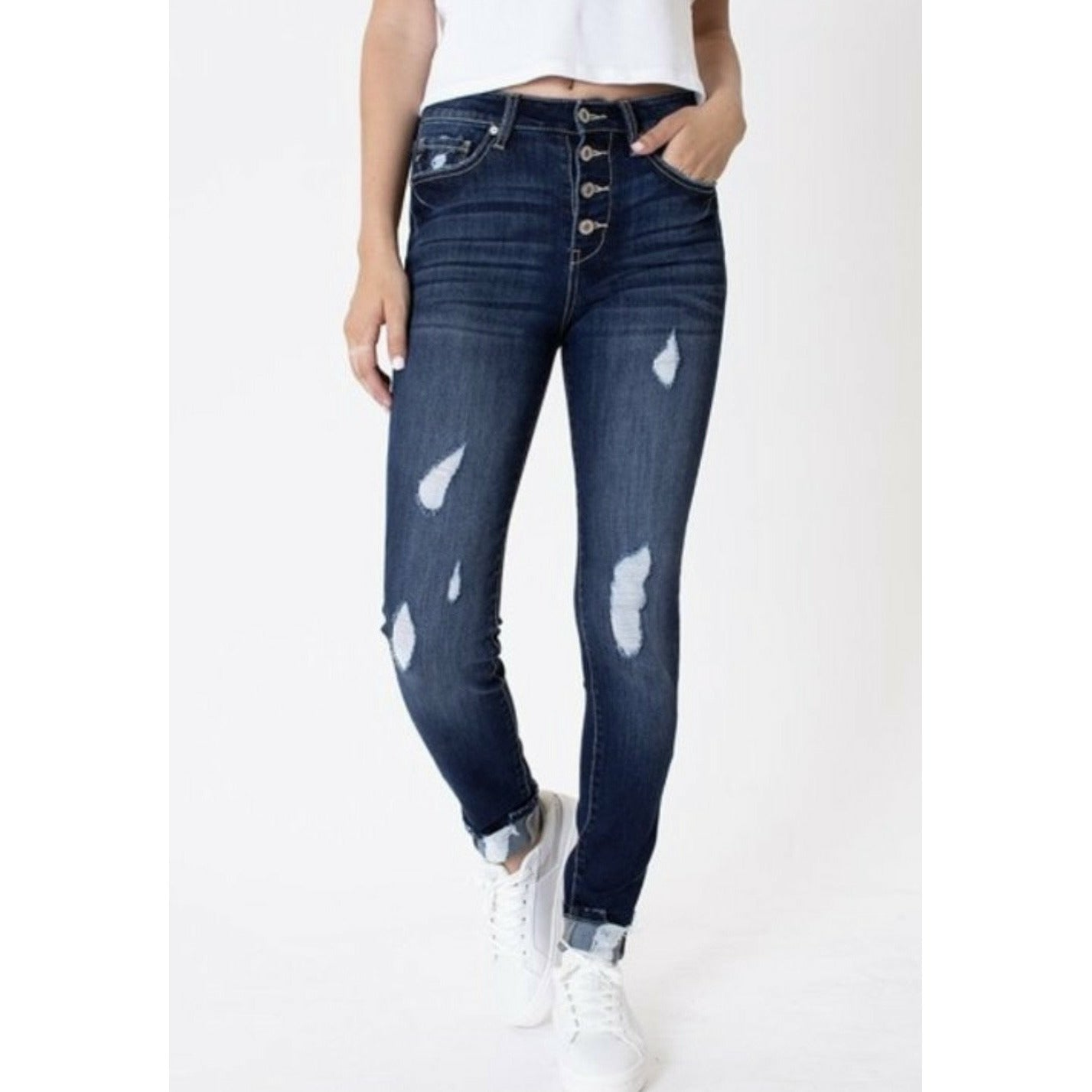 Rebecca KanCan High Rise Button Fly Ankle Skinny Jeans