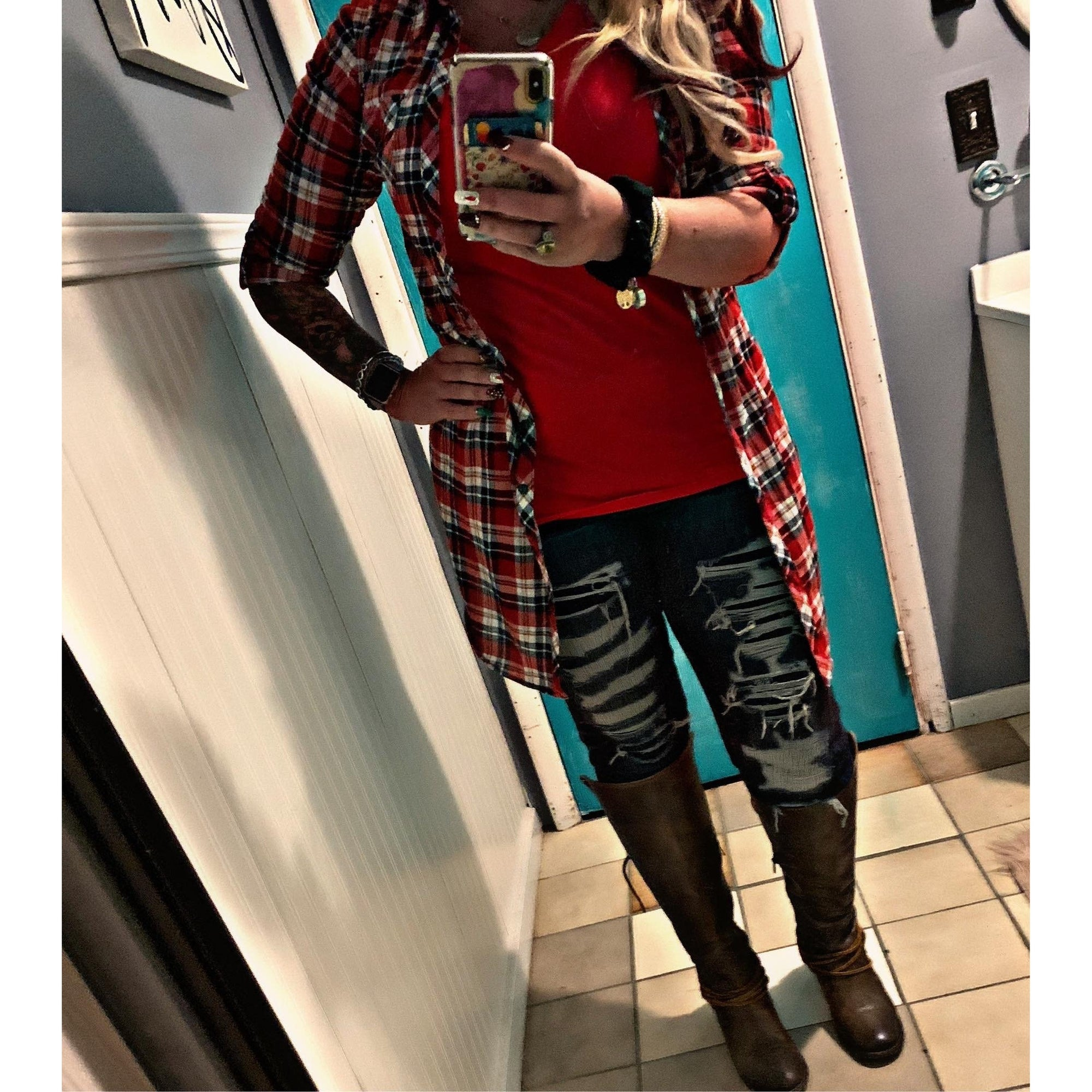 Me Time Red/Blue Plaid Flannel Cardigan