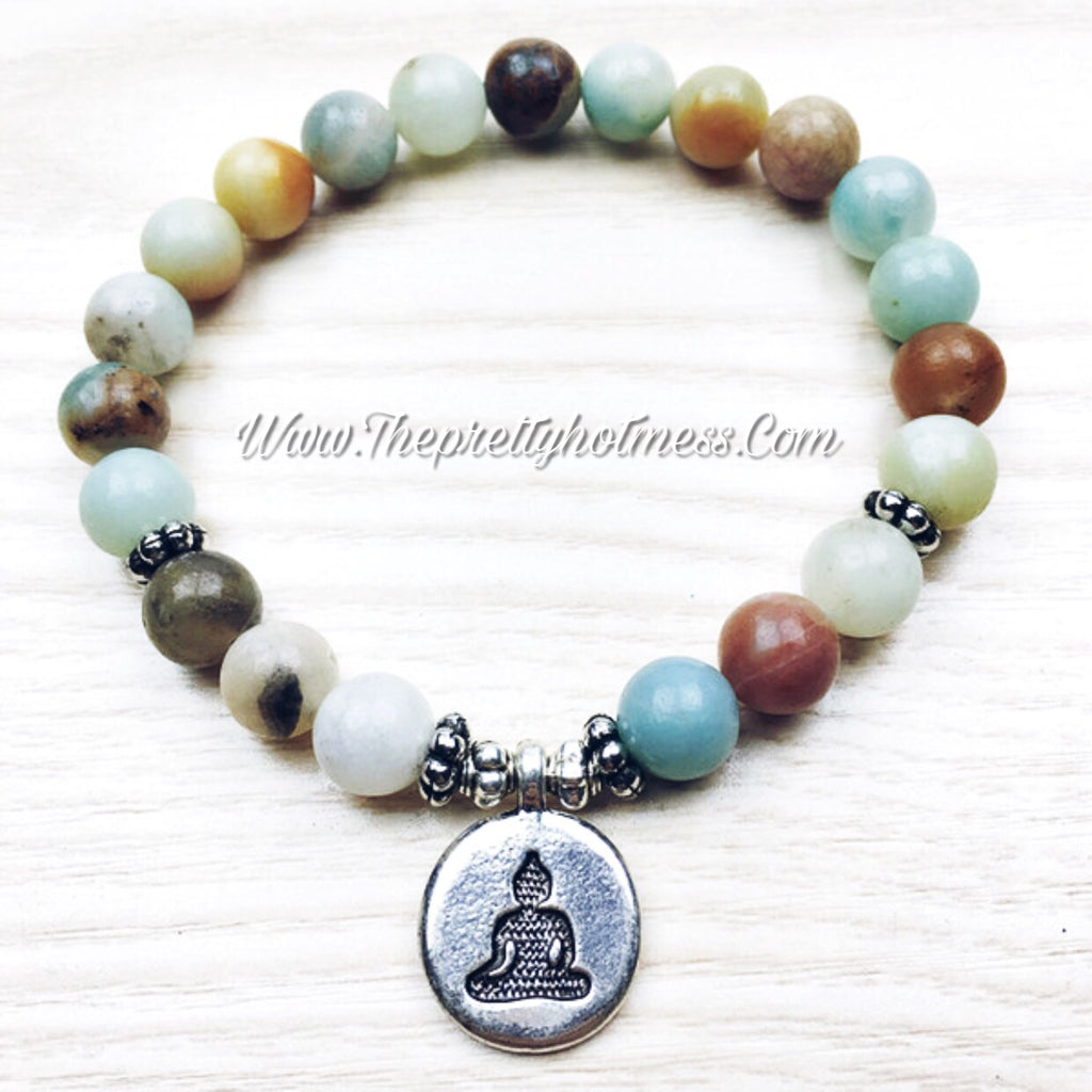 Natural Amazonite Buddha Bracelet