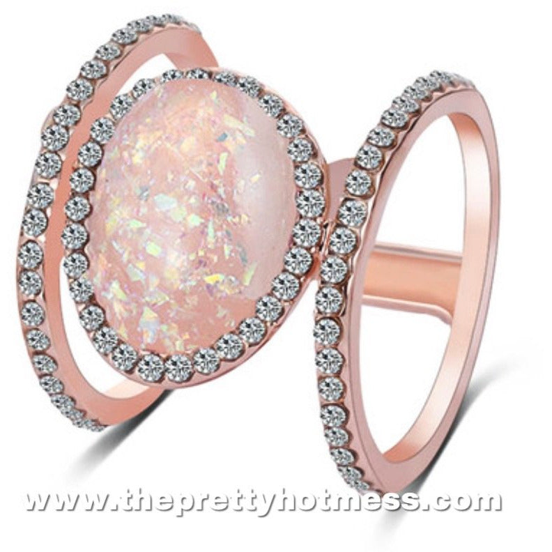 Rose Gold Opal Cocktail Ring