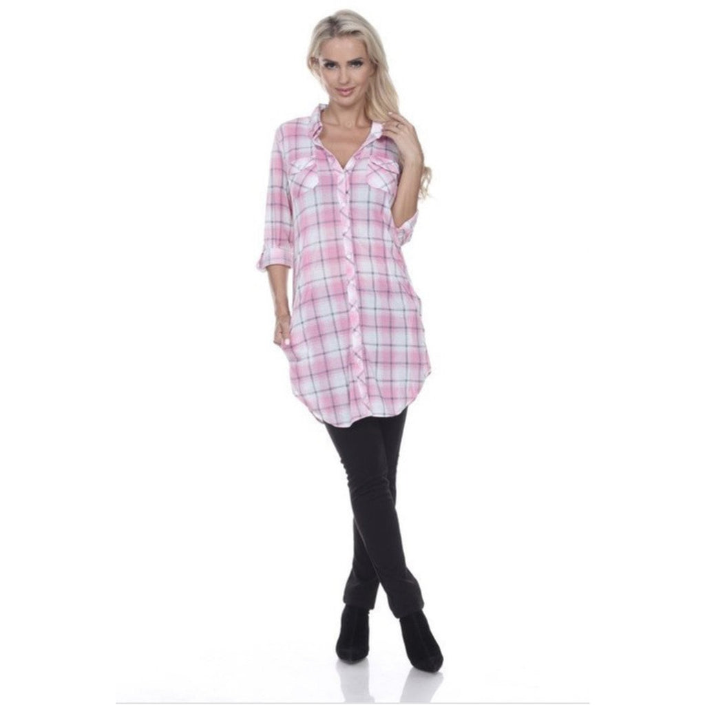 Me Time Pink/White Plaid Flannel Cardigan