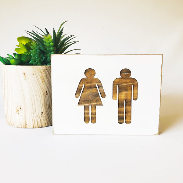 Men Women Bathroom Farmhouse Sign