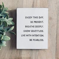 "Enjoy This Day Farmhouse Style Decor - Rustic Wood Sign - 5.5"" x 7.5"" x 3/4"""