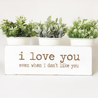 I Love You When I don't Like You Farmhouse Sign