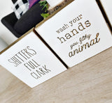 "Set of 5 bathroom signs - 4"" size"