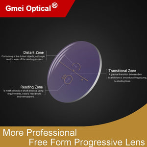 1.56 Digital Free Form Progressive No-Line Multi-Focal Prescription Customized Optical Lenses With Anti-Reflection Coating 2 Pcs
