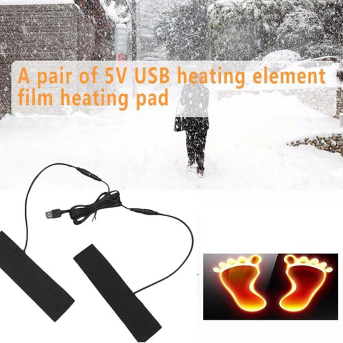 1 Pair Winter USB Heating Pad Electric Thermal Insoles Heated Boots Heater Feet Foot Warmer